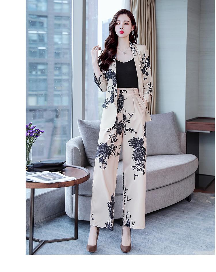 YASUGUOJI New 2019 Spring Fashion Floral Print Pants Suits Elegant Woman Wide-leg Trouser Suits Set 2 Pieces Pantsuit Women 23 Online shopping Bangladesh