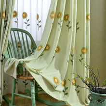 Pastoral Green Curtain Fabrics Flower Leaves Embroidered Tulle Tyre Cord Fabrics Blackout Sewing Window Screen for Living Room