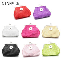 New 8 Colors 18MM Snap Buttons Jewelry Coin Purses Small Wallets Pouch Kids Girl Women's Money Bags For Gift ZN021