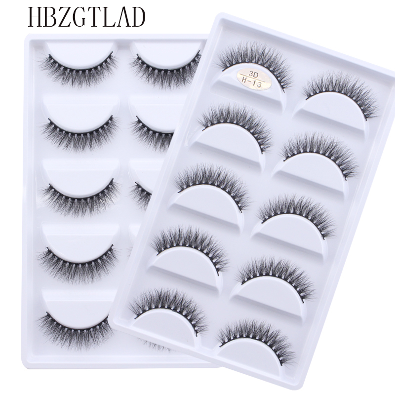 NEW 5 pairs Handmade 3d mink lashes short False Eyelashes Cross Messy Dense Natural Eye Lashes Stage Makeup False Eyelashes(China)