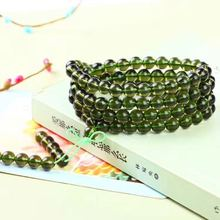 Natural Quality Goods Czekh Meteorite Bracelet Hand String Glass Green Meteorite 108 A Beads Fund Multi-storey Bracelet 8mm(China)