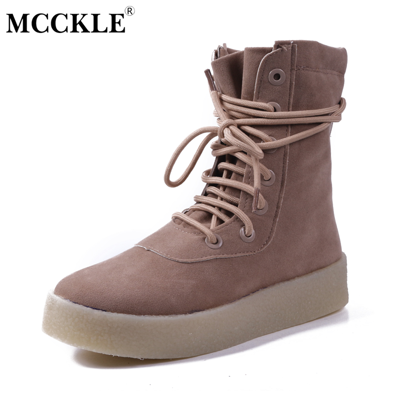 MCCKLE Women Boots Fashion Lace Up Suede Female Shoes Platform Mid Caf Autumn Boots Casual Ladies Round Toe Flats Shoes Woman<br>