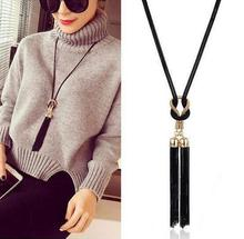 2017 Exaggerate Long Pendant Necklaces For Women Elegant Black Gold Vintage Necklace Tassel Waterdrop Necklaces & Pendant Gift