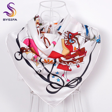[BYSIFA] White Twill Silk Scarf Headscarves Ladies Spring Autumn Brand Square Scarves Wraps 90*90cm Hand Hemming Silk Muffler