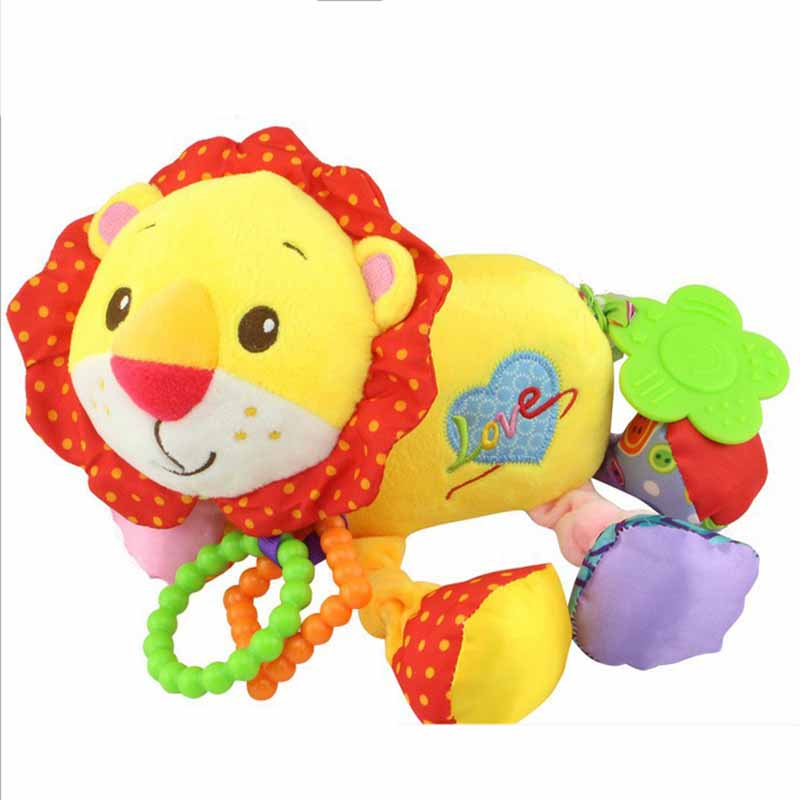 35*22CM Musical Cute Rattles Bed Crib Stroller Kids Stuffed Doll Vibrator Dog Hand Bell Shake RingToy With Teether D012 20