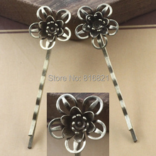 18x7mm Blank Bobby Pins Bases Settings 3D Filigree Hollow Flower pads Hair Clip Hairpins Crafts Findings Silver/ bronze tone