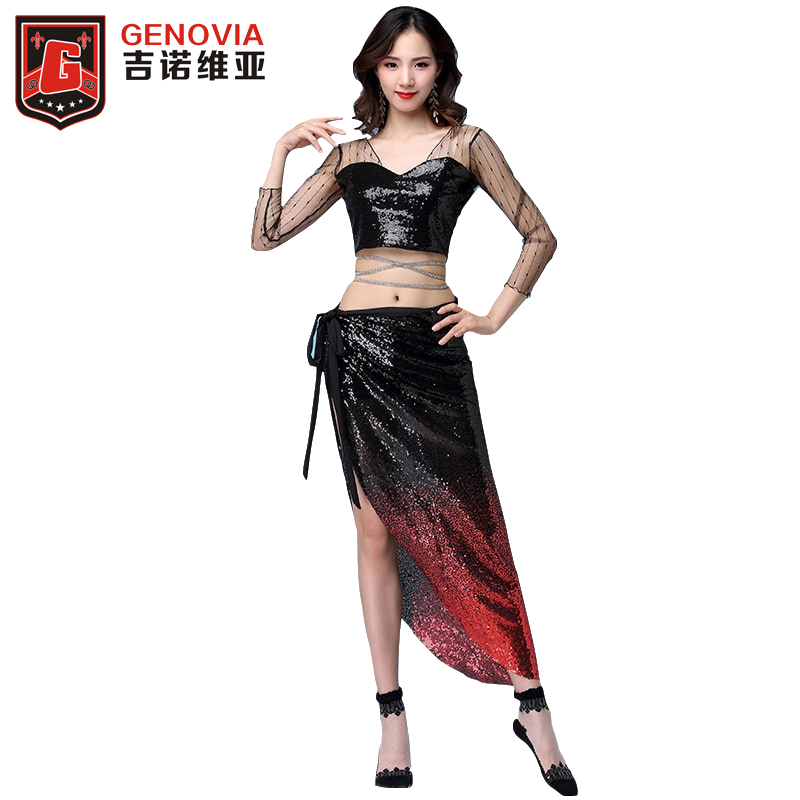 Women Belly Dance Costume Mesh Training Clothes 3pcs Long Sleeves Blouse +Sparkling Sequins Skirts +Safety pants M-XL