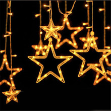 Xmas AC 110V 220V Strobe Light Christmas Star Shape Style Decorative String fairy Light for Partys Wedding Kids Room Decorations(China)