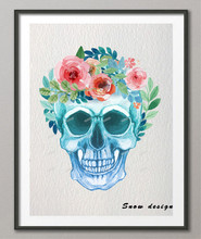 Original Watercolor Light Blue Skull poster print Pictures Canvas painting wall art Home Decoration Wall hanging Christmas gift(China)