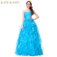 Robe de Soiree 2017 Ball Gown Evening Dresses Long Blue Pink Ruffles Sweetheart Formal Party Dress Engagement Evening Gowns(China)