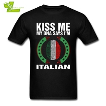 Kiss Me My DNA Says I Am Italian T Shirt Adult Latest Camisetas Italy T-Shirts Man O Neck Team Dad Clothing Fingerprint Flag(China)