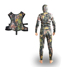 Best Price Mens Camo Neoprene Wetsuit 3mm for Spearfishing with Vest Set(China)