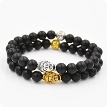 2016 NEW  Arrival 2 style  8mm Natural Black Lava Beads 7 Chakra Healing energe Buddha Bracelet Yoga Reiki Prayer Bracelet  Q58