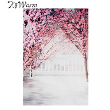 KiWarm Blossom Cherry Silk Poster Decorative Fabric Painting Photography Background Cloth for Studio Home Background Decor Gift