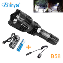 Brinyte B58 Night Hunting Flash Light White Red Green 1 Mode  CREE XM-L2(U4) LED Remote Control Flashlight 18650 Battery