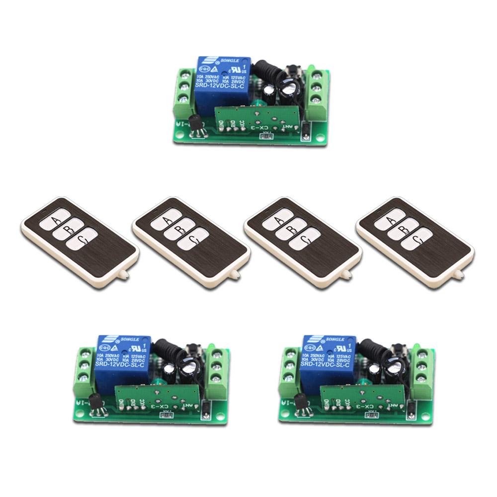 Hot Sale 9V12V24V RF Wireless Remote Control Relay Switch 315/433MHZ Relay Module Learning Code Switch with 3 key Remote Control<br>
