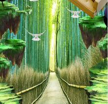 3d flooring tiles photo murals waterproof wallpaper Custom 3d flooring bamboo forest self-adhesive floor wallpaper(China)