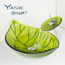 Green Leaf Color Washbasin Tempered Glass Vessel Sink Set Brass Bathroom Sink Set With Waterfall Faucet Bathroom Faucets