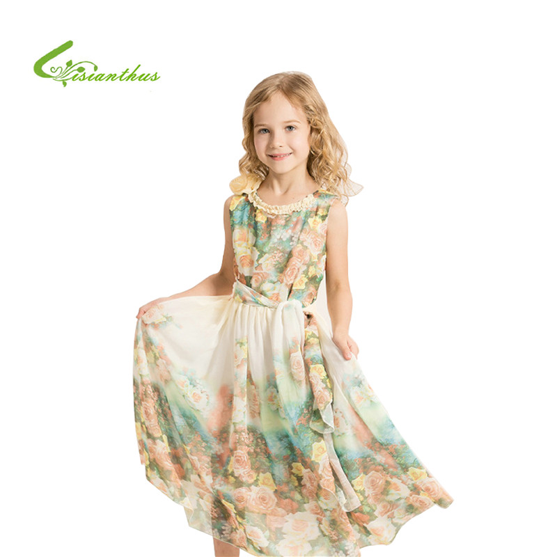 2017 New Fashion Summer Girls Aestheticism Fairy Tale Printing Lace Dress Chiffon Princess Children Dresses Drop Shipping<br><br>Aliexpress