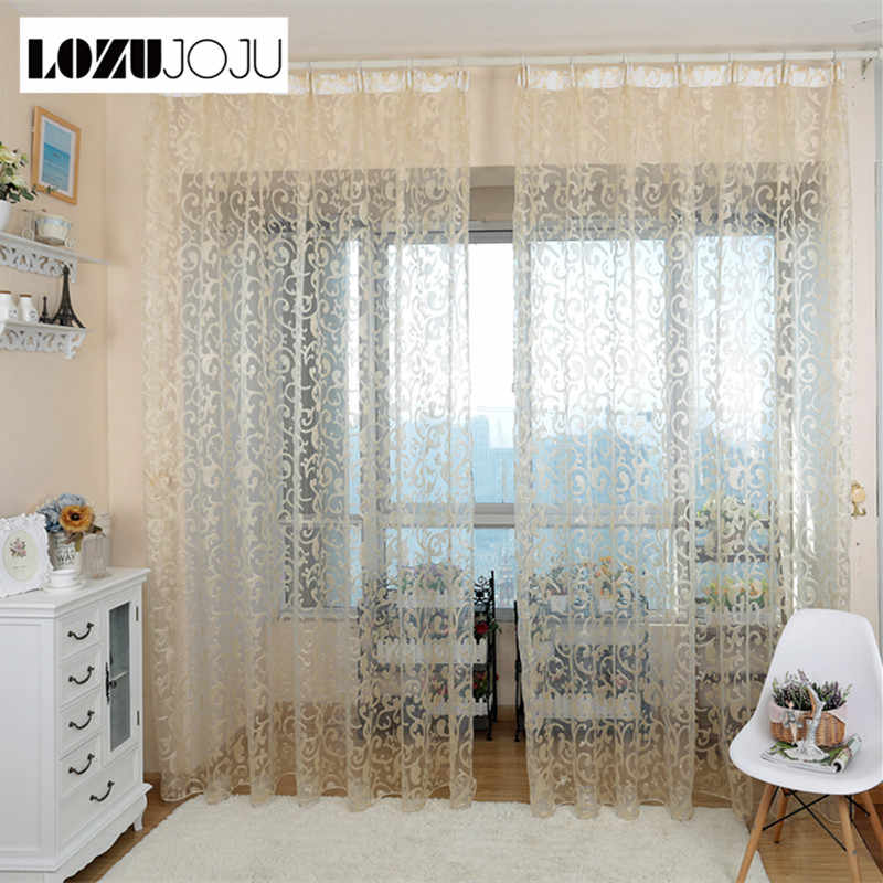 LOZUJOJU European style jacquard leaf design tulle fabrics sheer curtains for balcony bedroom living room windows door