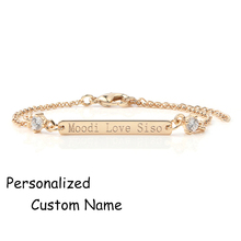 3UMeter Crystal Bracelet Custom Engraved Name Bracelet Personalized Initial Bracelet With Zircon Rhinestone Bracelet For Amazon