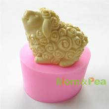 Mom&Pea 0604 Free Shipping Rose Sheep Silicone Soap Mold Cake Decoration Fondant Cake 3D Mold Food Grade DIY Silicone Mould(China)