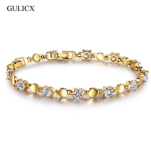 GULICX Unique Design Hearts Arrows 11 pcs Round CZ Crystal Braceltes for Women Wedding Jewelry Bracelet Bangle Gift GLL014(China)