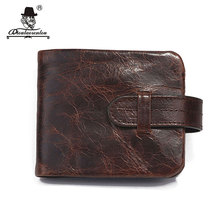 DIOULAORENTOU Vintage Short Casual Cowhide Oil Wax Genuine Leather Men Bifold Wallet Purse Male Zipper Wallets with Coin Pocket(China)
