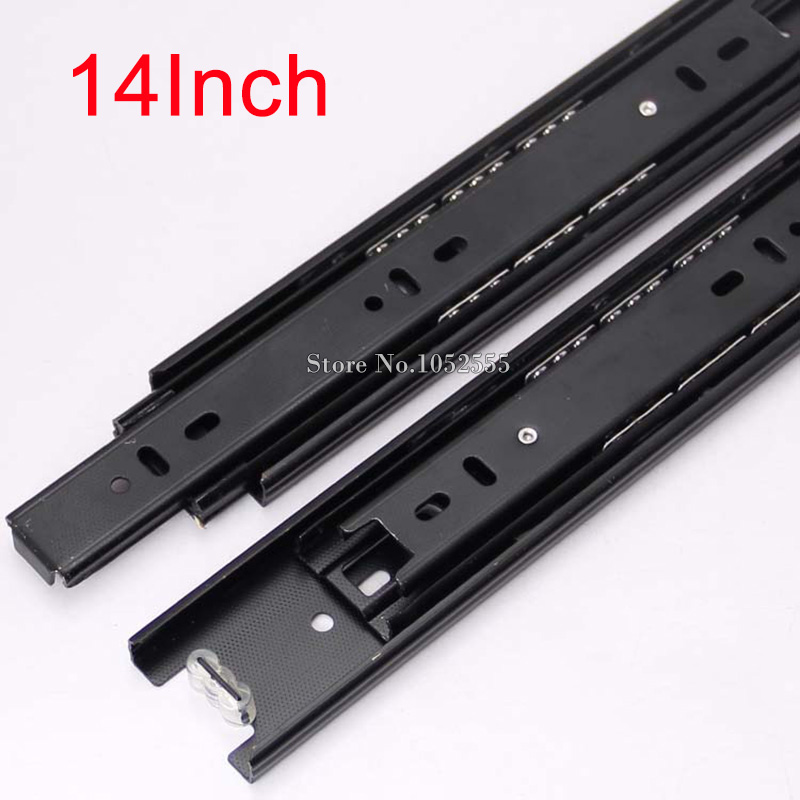 Hot 2PCS 3-Fold Drawer Runners Slides Rail Full Extension 350mm/14'' Telescopic Metal Ball Bearing Furniture Hardware K178-4(China)