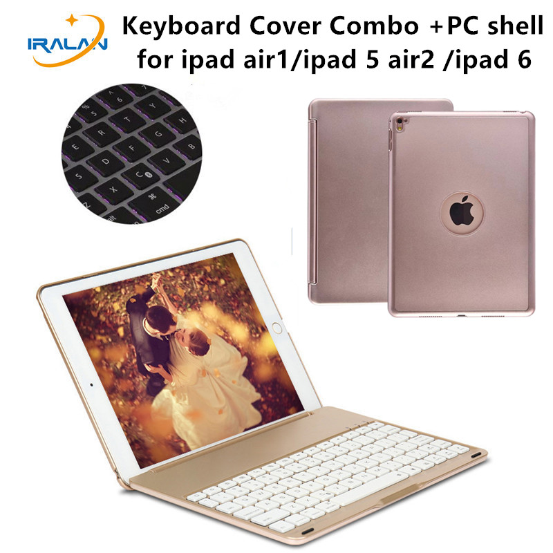 2017 New 7 Colors Backlit Light Wireless Bluetooth Keyboard Case Cover For iPad Air / Air 2 For iPad 5 6 9.7 inch+Stylus+film<br>