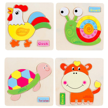 HOT SALE Kids Jigsaw Puzzle Cartoon Animals Dimensional Puzzle Force Children Wooden Jigsaw Puzzle Kids Education Learning Toys