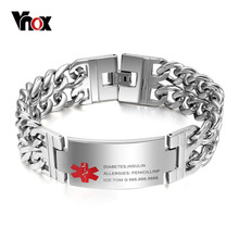 Vnox Men's Medical Alert ID Tag Bracelet Stainless Steel Bangle Wrist Cuba Link Chain Free Engraving