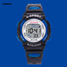 2017 Hot Sale Waterproof Children Watch Boys Girls LED Digital Sports Watches Silicone Rubber Kids Alarm Date Casual Watch HONHX