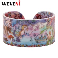 WEVENI Acrylic Wide Mermaid Print Bracelets Bangles For Women Halloween Gifts New Fashion Ocean Collection Jewelry Accessories(China)