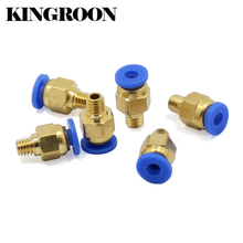 10pcs PC4-M6 Pneumatic Straight Connector Brass Part For MK8 OD 4mm 6mm Tube Filament M6 Feed Fitting Coupler 3D Printers Parts(China)