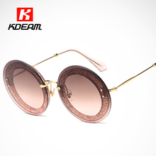 New Reveal Overlay Frame Round Sunglasses Women Modern Shiny Sun Glasses Rounded With Detailing Box lunette as Gift 10R(China)
