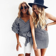 New women slip mini dresses shirt vintage gingham vestido club sundress female strap sleeveless pleated dress 2017 summer LG007(China)