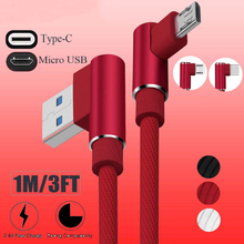 Buy 2.4A Fast Charging Nylon 90 Degree Right Angle Design IOS Micro USB Type-C Data Cable Sync Cord Android iPhone X 8 iPad for $2.95 in AliExpress store