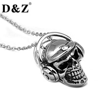 D&Z Punk Gothic Casting 316L Titanium Stainless Steel Headset Skeleton Skull Pendants Necklaces for Men Jewelry