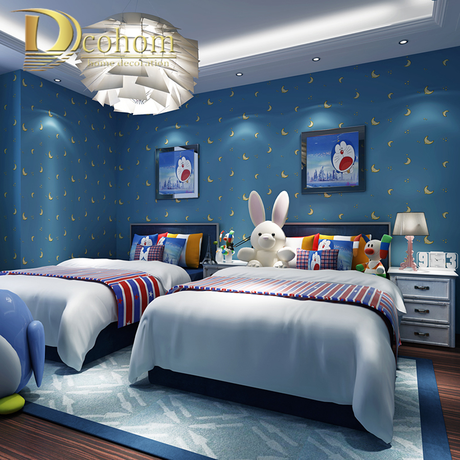 Beige Pink Blue Star Star Moon Wallpaper For Childrens Rooms Boys Girls Bedroom Cartoon Wall Papers Home Decor Wall Murals<br><br>Aliexpress