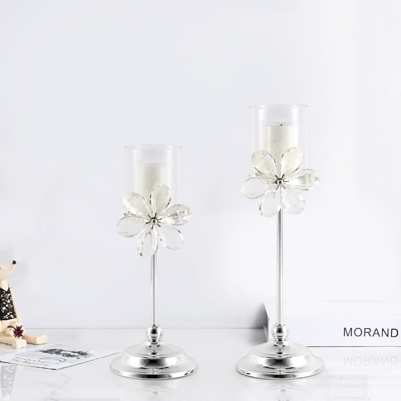Luxury Metal Candle Holders Wedding Centerpieces Glass Candle Stand