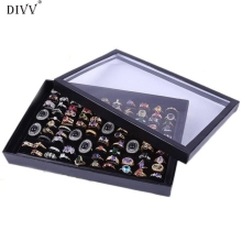 DIVV 29 x 19 x 4.5cm Creative Jewelry Rings Display Tray Velvet 100 Slots Case Box Jewelry Storage Box Happy Gifts High Quality