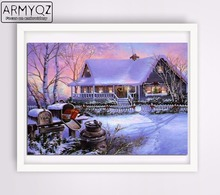 ARMYQZ Diamond Painting Cross-stitch Embroidery House Lift Christmas Decorations For Home Diamond Mosaic Winter Decorative Photo