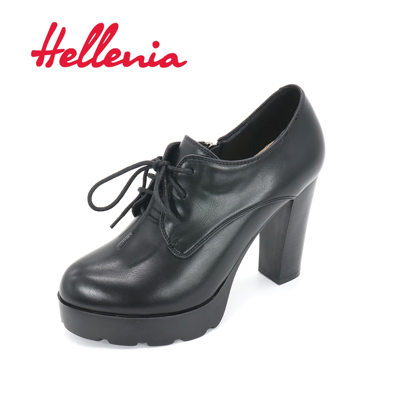 Hellenia Ladies Pump Platform high Heel Black Auumn Wedding Party shoes for Women Lace Up Rounded Toe Dress Working Footwear <br>