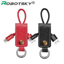 Robotsky Leather Key Chain USB Cable iPhone Micro USB Type C Key Ring Cables Samsung Huawei Fast Charging Data Line