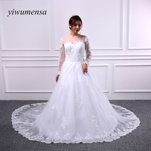Buy yiwumensa vestidos de novia tulle lace line wedding dresses 2017 long sleeves vestido de casamento wedding dress Bridal gowns for $141.75 in AliExpress store