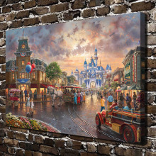 H1394 Thomas Kinkade City Streets Scenery .HD Canvas Print Home decoration Living Room bedroom Wall pictures Art painting(China)