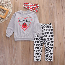 Children Baby Girls Clothing Kids Toddler Girl Clothe set Cotton Sweatshirt +Leggings XO Pants and headband 3Pcs Outfit Set