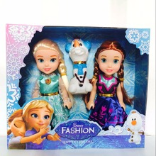 16cm Elsa & Anna & Olaf 3Pcs/Set Dolls 7inches Girls Toy Birthday Present All Children Like Gift Free Shipping