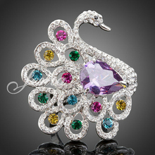 Jenia Elegant White Gold Color Colorful Teardrop Cubic Zirconia Swan Ring For Wedding Women XR018